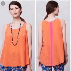 Anthropologie Maeve Orange Piped Silk Tank Top